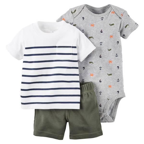 Baby Boy's Multi Colored 3-Piece Bodysuit & Shorts Set
