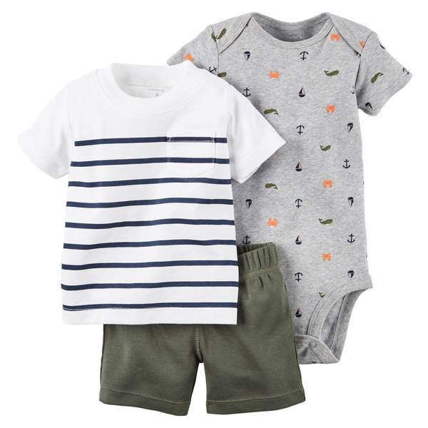 Baby Boy's Multi Colored 3Piece Bodysuit & Shorts Set
