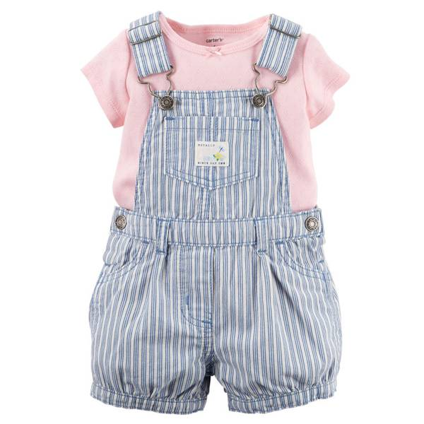 Baby Girl's Multi Colored 2-PIce Tee & Shortalls Set