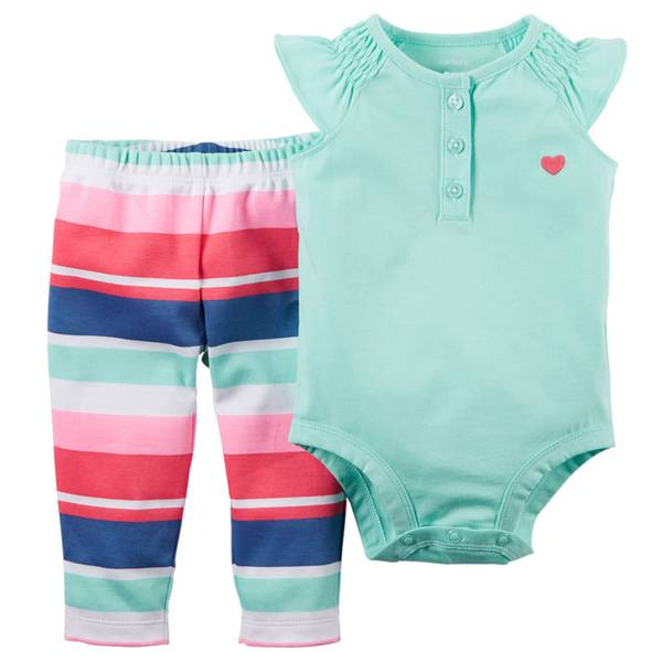 Baby Girl's Multi Colored 2-Piece Bodysuit & Pants Set