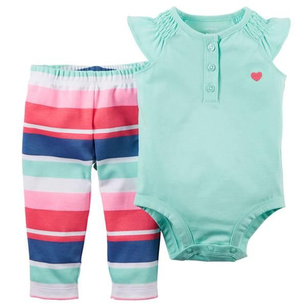 Baby Girl's Multi Colored 2-Piece Bodysuit & Pants Set