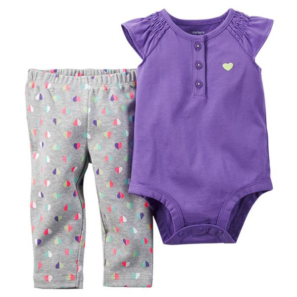 Baby Girl's Purple & Gray 2-Piece Bodysuit & Pants Set