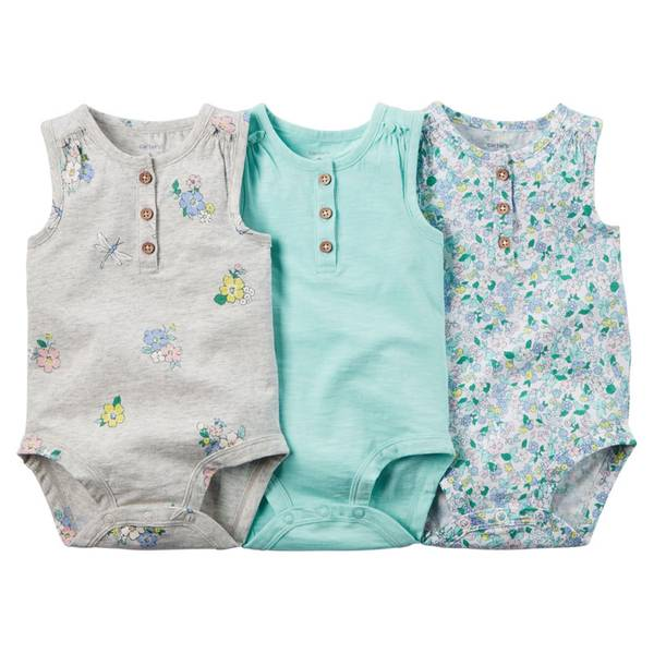 Baby Girl's Multi Colored Sleeveless Bodysuits-3 Pack