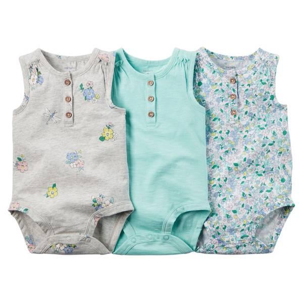 Baby Girl's Multi Colored Sleeveless Bodysuits-3 Pack
