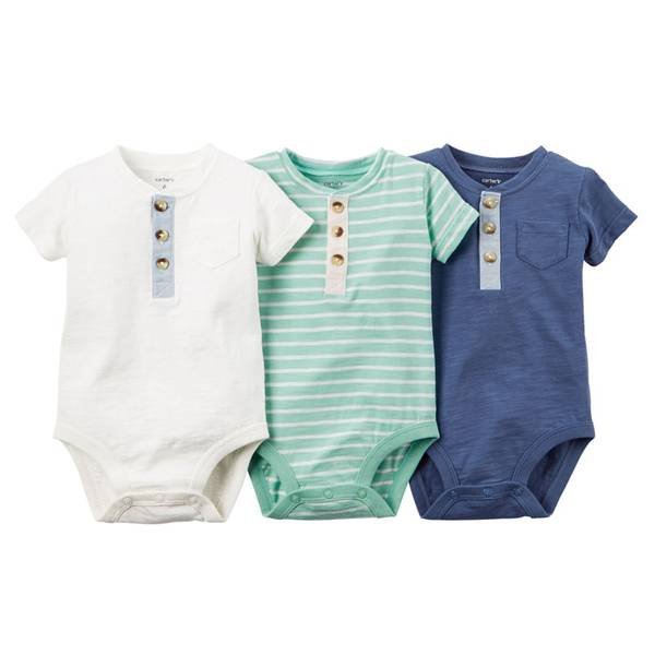 Baby Boy's Multi Colored Bodysuits-3 Pack
