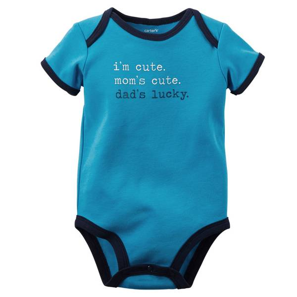 "Infant Boy's Blue Short Sleeve ""Dad's Lucky"" Bodysuit"