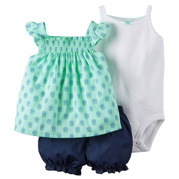 Baby Girl's Multi Colored 3-Piece Bodysuit & Diaper Cover Set