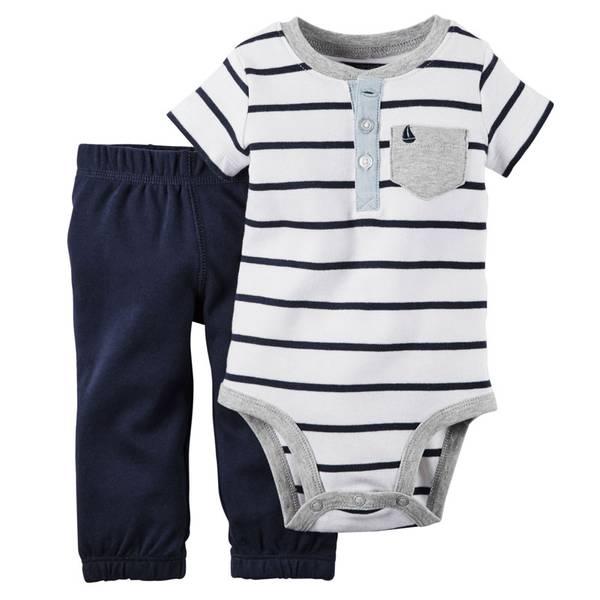 Baby Boy's White & Navy 2-Piece Bodysuit & Pants Set