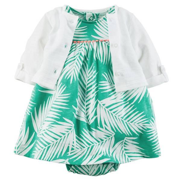 Baby Girl's Turquoise & White 2-Piece Bodysuit Dress & Cardigan Set