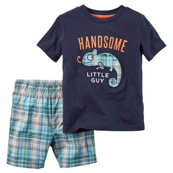 Baby Boy's Multi Colored 2-Piece Tee & Shorts Set
