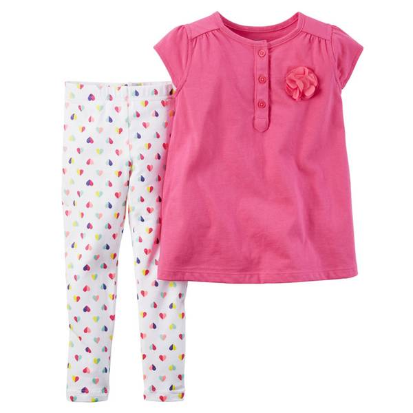 Infant Girl's Pink & White 2-Piece Top & Leggings Set