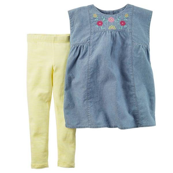 Baby Girl's Chambray & Yellow 2-Piece Top & Leggings Set