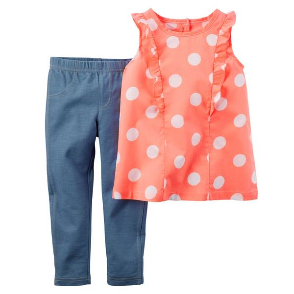 Infant Girl's Orange & Blue 2-Piece Top & Jeggings Set