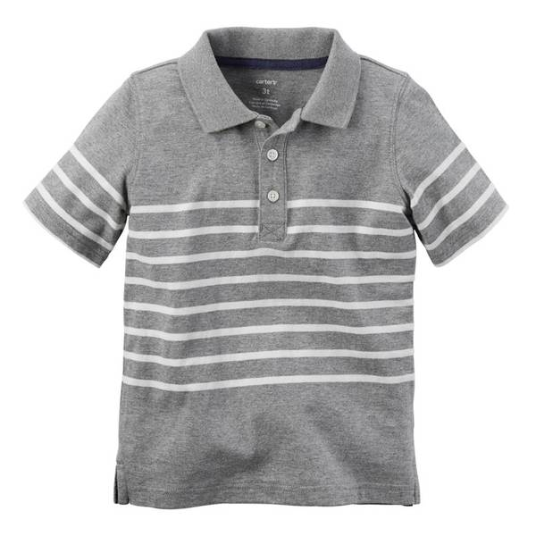 Toddler Boys' Gray & White Striped Jersey Polo Tee