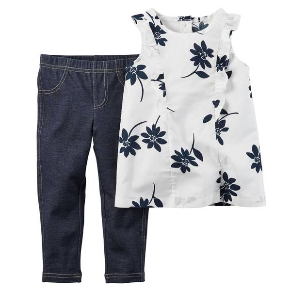 Baby Girl's White & Navy 2-iece Top & Jeggings Set