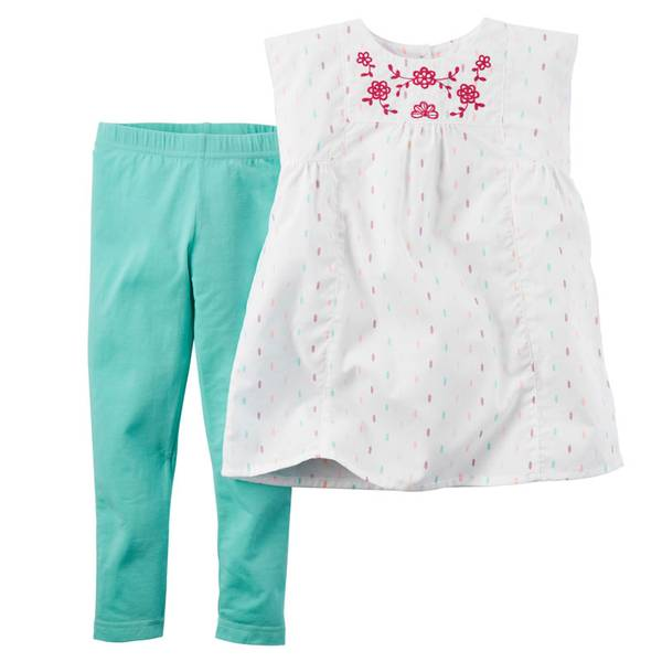 Baby Girl's White & Mint 2-Piece Top & Leggings Set