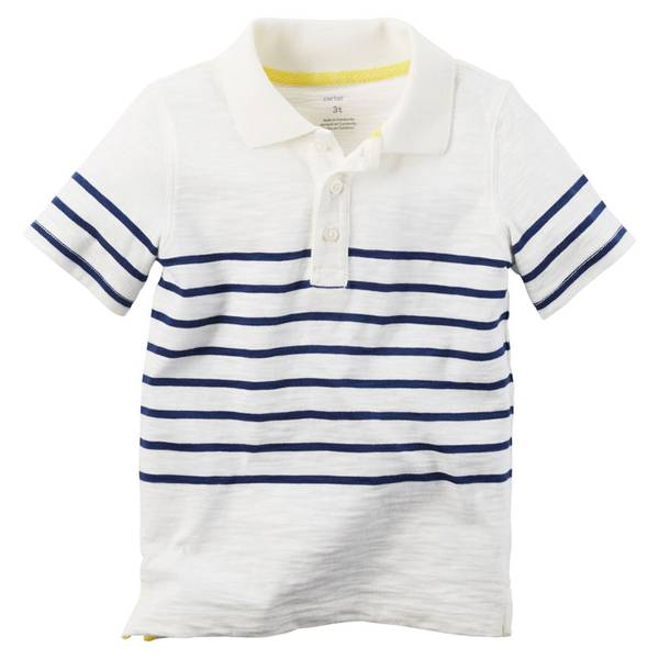Boys'  & Blue Striped Jersey Polo Tee