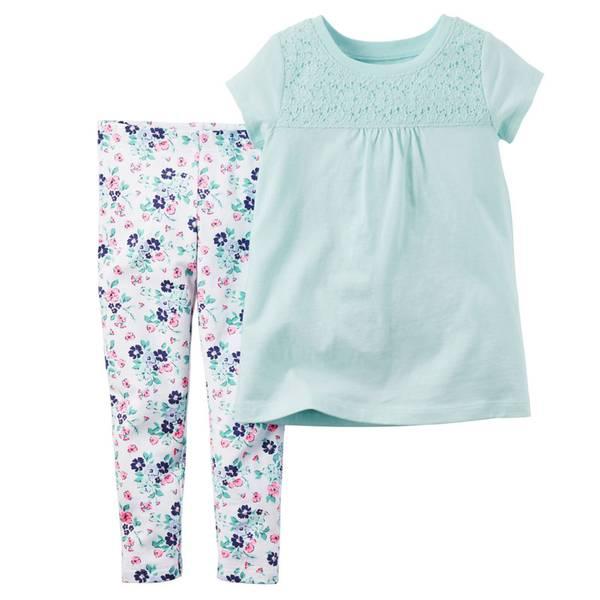 Infant Girl's Blue & White 2-Piece Top & Leggings Set