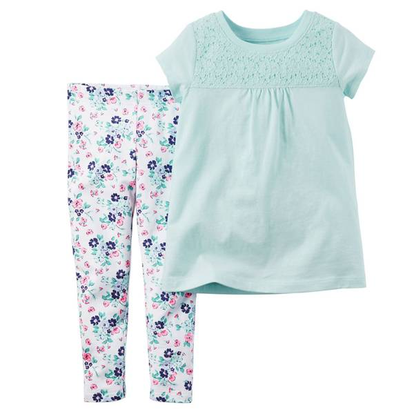 Baby Girl's Blue & White 2-Piece Top & Leggings Set