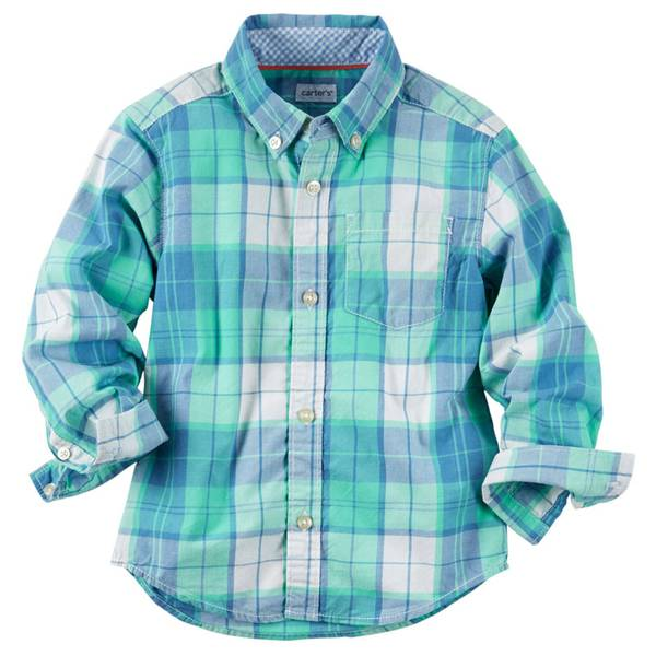 Boys' Multi Colored Plaid Button-Front Shirt