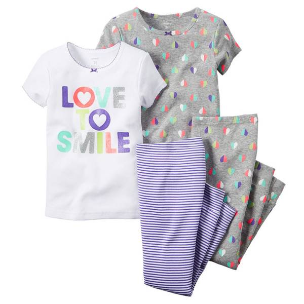 Infant Girl's Multi Colored 4-Piece Hearts Pajamas Set