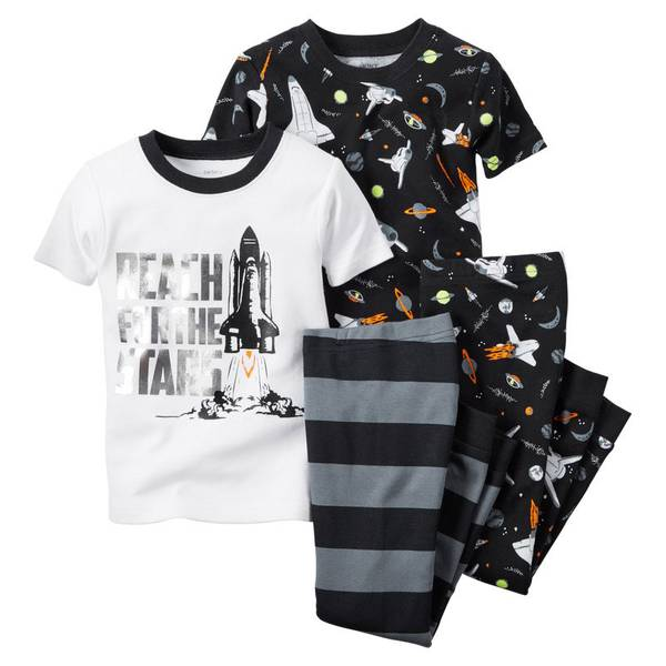 Infant Boy's Black & White 4-Piece Pajamas Set