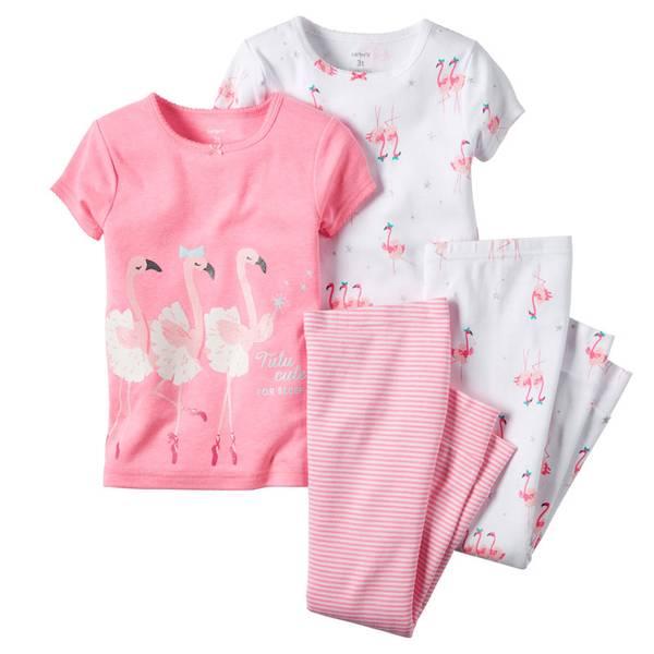 Infant Girl's Pink & White 4-Piece Flamingo Pajamas Set