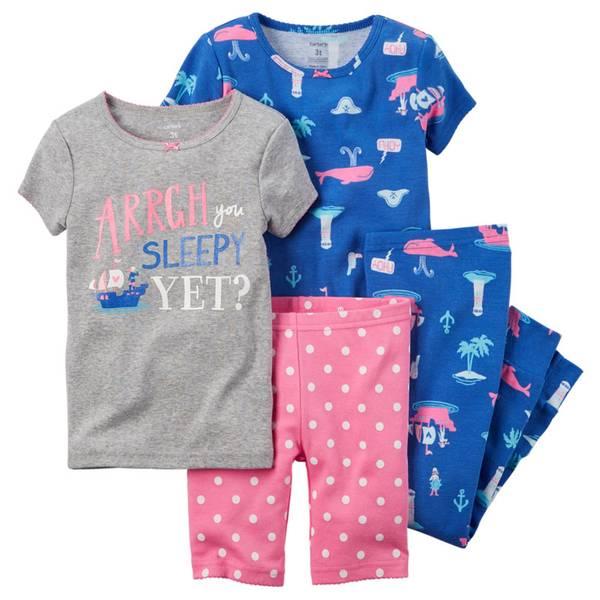 Baby Girl's Blue & Pink 4-Piece Snug-Fit Pajamas