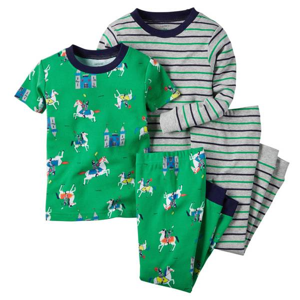 Boys' Green & Gray 4-Piece Snug Fit Cotton Pajamas