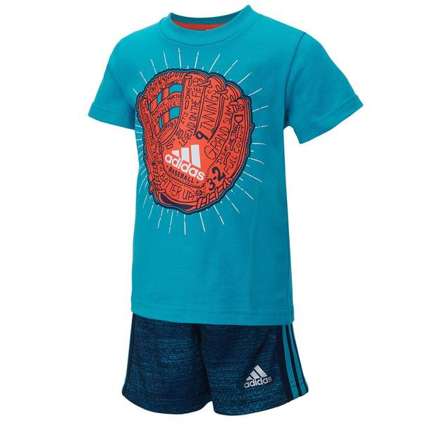 Baby Boy's Shock Green & Blue Never Stop Playing 2-Piece Set