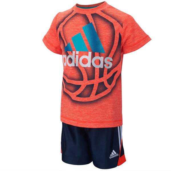 Baby Boy's Gray & Navy Slam Dunk Tee & Shorts Set