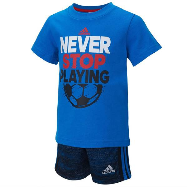 Toddler Boy's Blue & Navy 2-Piece Never Stop Playing Short Set