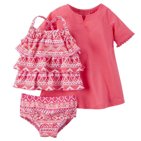 Infant Girl's Pink 3-Piece Swim Set
