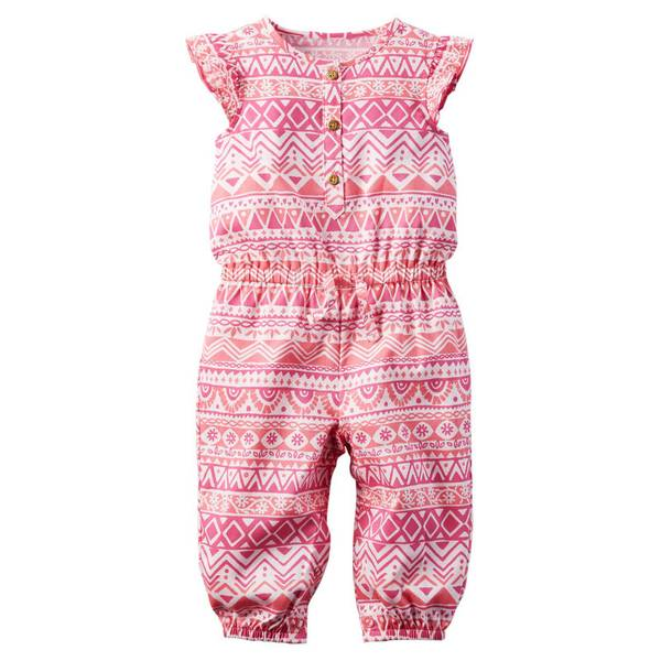 Baby Girl's Pink Printed Flutter-Sleeve Jumpsuit