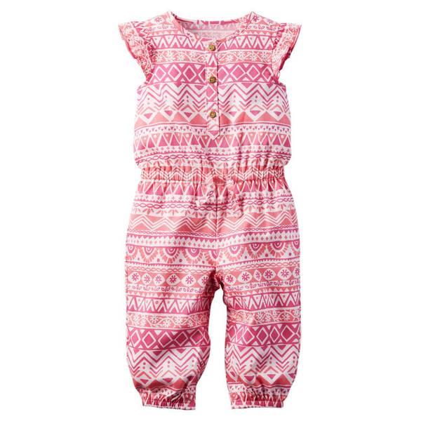 Baby Girl's Pnk Printed Flutter-Sleeve Jumpsuit