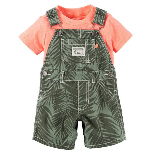Baby Boy's Olive & Orange 2-Piece Tee & Overalls Set