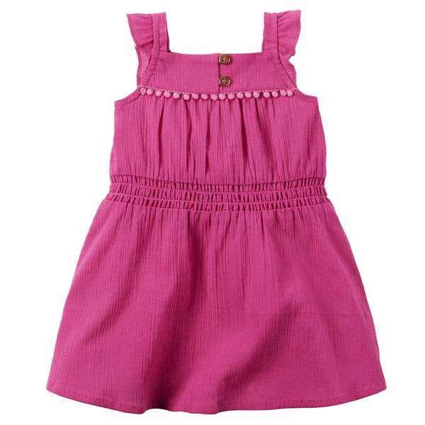 Baby Girl's Pink Crinkle Gauze Dress