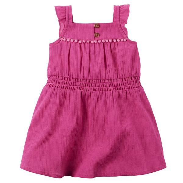 Baby Girl's Pink Crinkle Gauze Dress