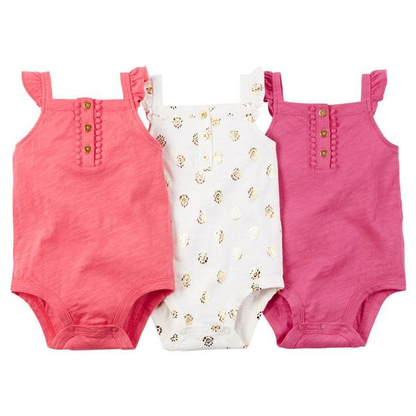 Infant Girl's Multi Colored 3-Pack Sleeveless Bodysuits