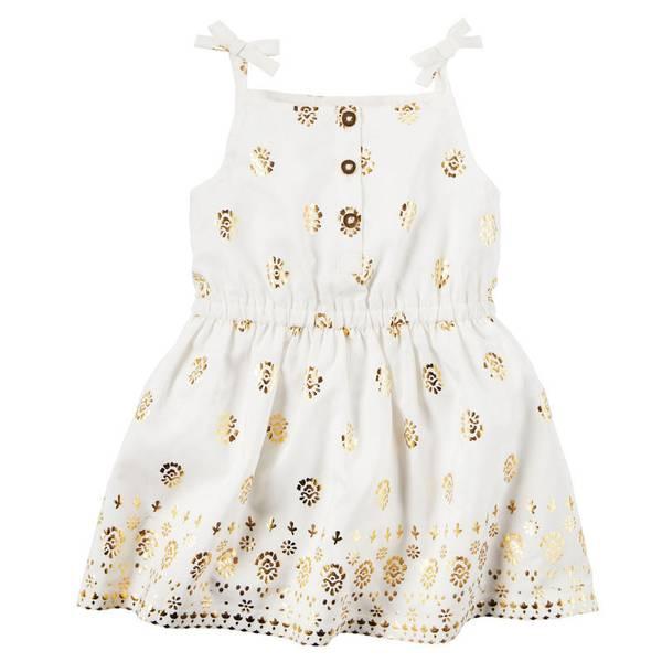 Infant Girl's White Foil Print Dress