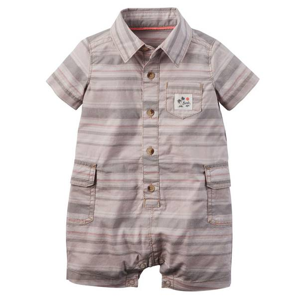 Infant Boy's Khaki Striped Cargo Romper