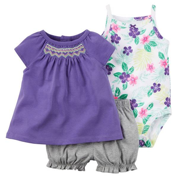 Infant Girl's Multi Colored 3-Piece Bodysuit & Diaper Cover Set