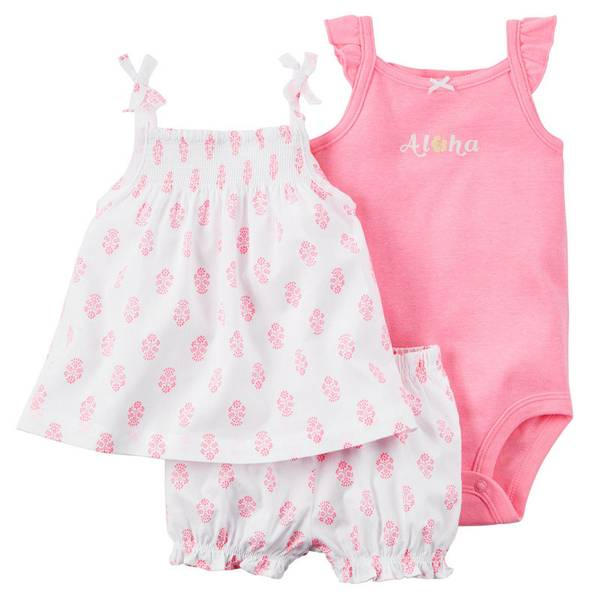 Baby Girl's Pink & White 3-Piece Bodysuit & Diaper Cover Set