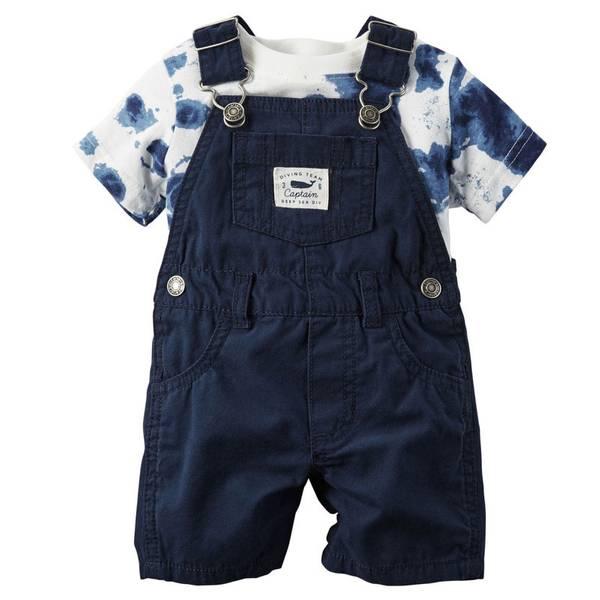 Baby Boy's Navy & White 2-Piece Shortall Set