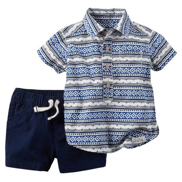 Baby Boy's Navy & White 2-Piece Striped Top & Shorts Set