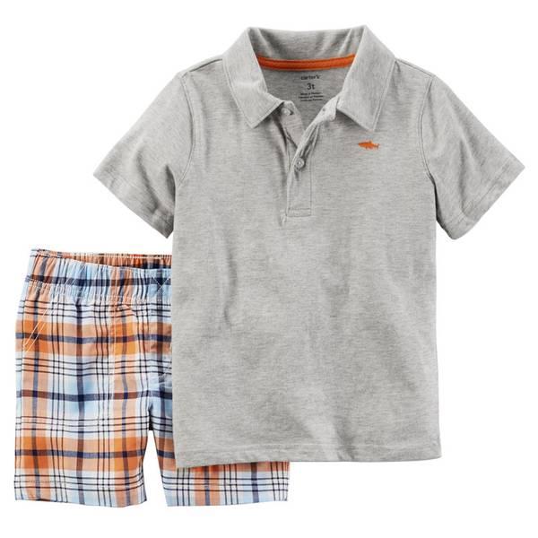 Baby Boy's Gray & Orange 2-Piece Plaid Shorts Set