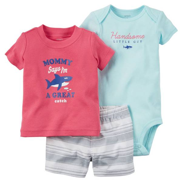 Baby Boy's 3-Piece Bodysuit & Diaper Cover Set