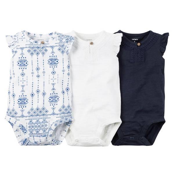 Infant Girl's Navy & White Bodysuits 3-Pack