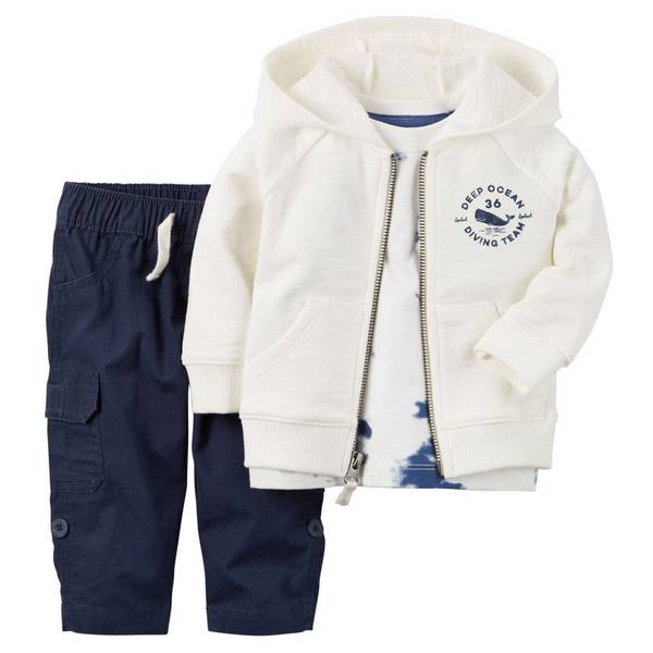 Infant Boy's Navy & White 3-Piece Hoodie Set