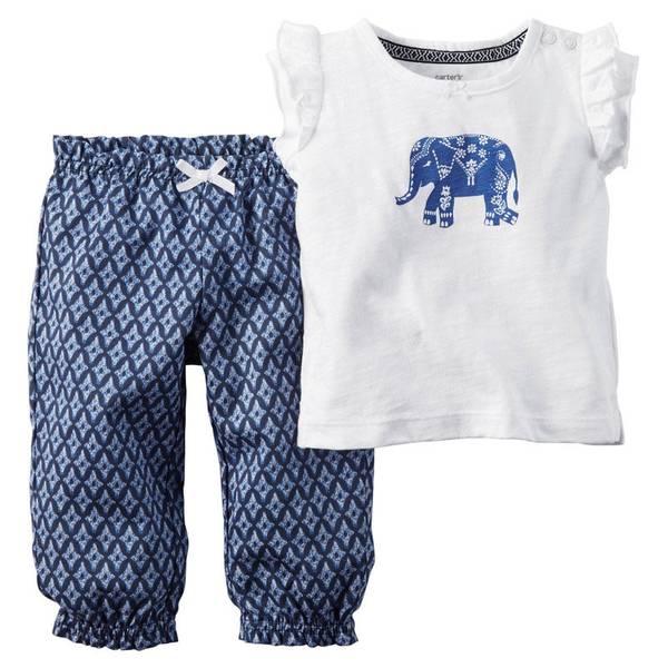 Infant Girl's White & Navy 2-Piece Pant Set